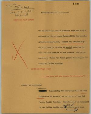 Primary view of object titled '[News Script: Mosquito battle]'.