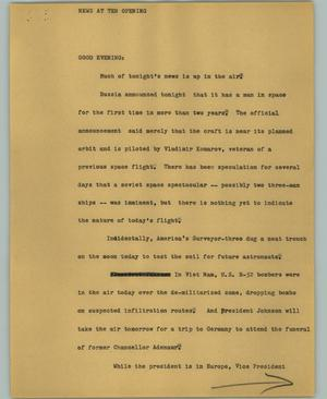 Primary view of object titled '[News Script: News at Ten Opening]'.
