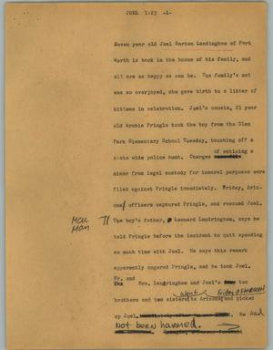 Primary view of object titled '[News Script: Joel]'.