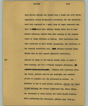 Primary view of object titled '[News Script: Addison]'.