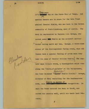 Primary view of object titled '[News Script: Nimitz]'.