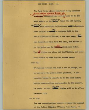 Primary view of object titled '[News Script: Cop radio]'.