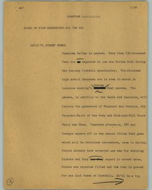 Primary view of object titled '[News Script: Downtown]'.