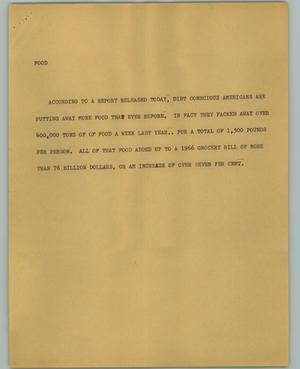 Primary view of object titled '[News Script: Food]'.