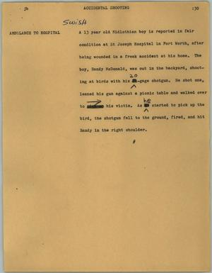 Primary view of object titled '[News Script: Accidental shooting]'.