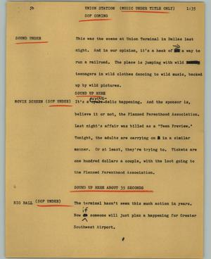 Primary view of object titled '[News Script: Union station]'.