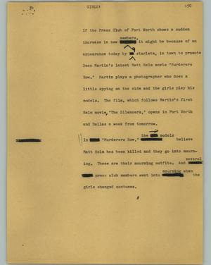 Primary view of object titled '[News Script: Girls!]'.