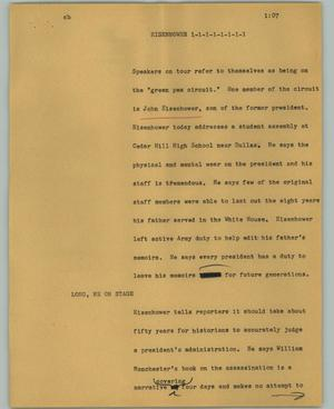 Primary view of object titled '[News Script: Eisenhower]'.
