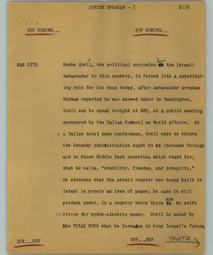 Primary view of object titled '[News Script: Jewish speaker]'.