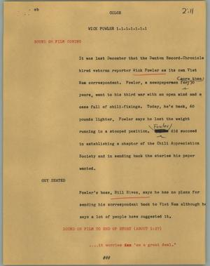 Primary view of object titled '[News Script: Wick Fowler]'.