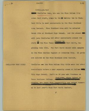 Primary view of object titled '[News Script: Beauty?]'.