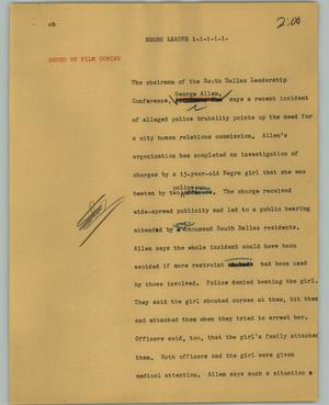 Primary view of object titled '[News Script: Negro leader]'.