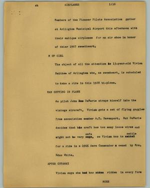 Primary view of object titled '[News Script: Airplanes]'.