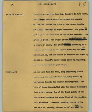 Primary view of object titled '[News Script: JFK (Oswald grave)]'.