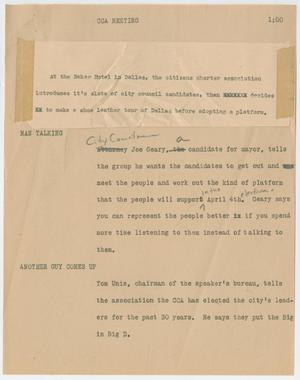 Primary view of object titled '[News Script: CCA meeting]'.