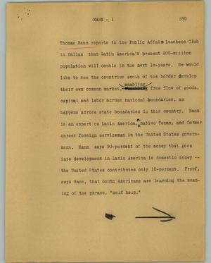 Primary view of object titled '[News Script: Mann]'.