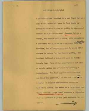Primary view of object titled '[News Script: Riot trial]'.