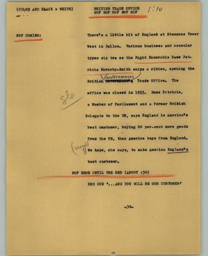 Primary view of object titled '[News Script: British trade office]'.