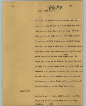 Primary view of object titled '[News Script: Girls choir]'.