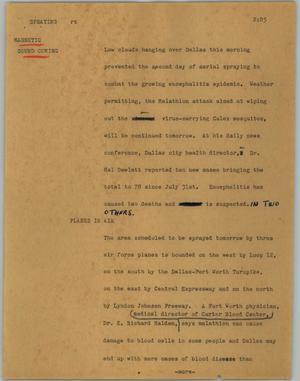 Primary view of object titled '[News Script: Spraying]'.