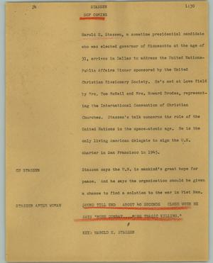 Primary view of object titled '[News Script: Stassen]'.