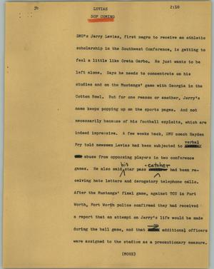 Primary view of object titled '[News Script: Levias]'.