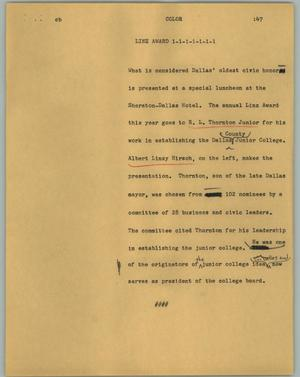 Primary view of object titled '[News Script: Linz award]'.