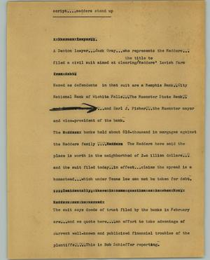 Primary view of object titled '[News Script: Script....Medders stand up]'.