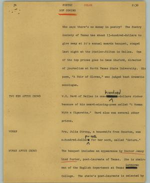 Primary view of object titled '[News Script: Poetry]'.