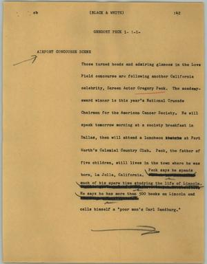 Primary view of object titled '[News Script: Gregory Peck]'.