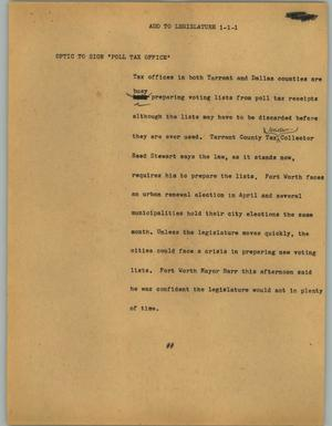 Primary view of object titled '[News Script: Add to legislature]'.