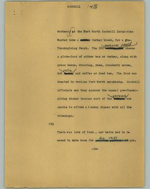 Primary view of object titled '[News Script: Goodwill]'.