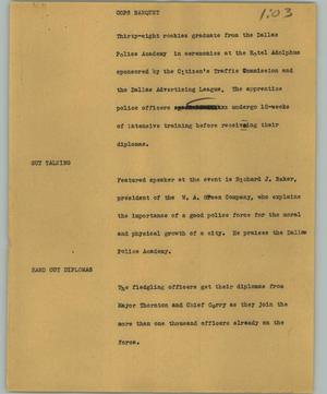 Primary view of object titled '[News Script: Cops banquet]'.