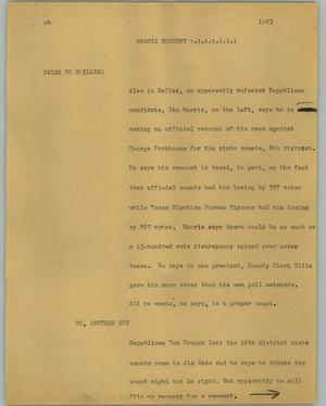 Primary view of object titled '[News Script: Harris recount]'.
