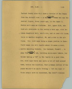 Primary view of object titled '[News Script: Mrs. Kirk]'.
