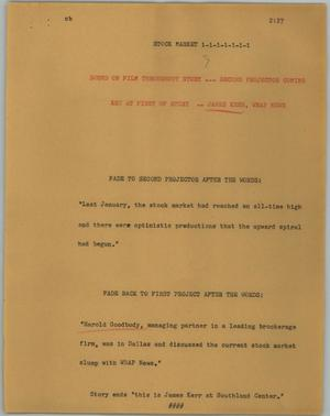 Primary view of object titled '[News Script: Stock Market]'.