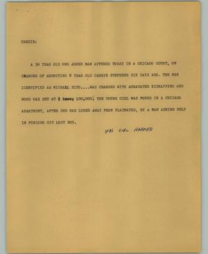 Primary view of object titled '[News Script: Carrie]'.