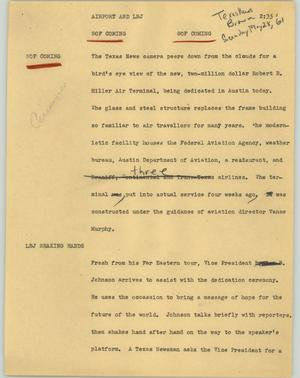 Primary view of object titled '[News Script: Airport and LBJ]'.