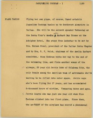 Primary view of object titled '[News Script: Jacqueline Cochran]'.