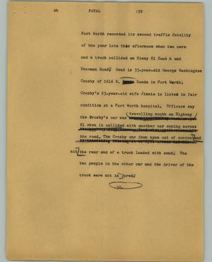 Primary view of object titled '[News Script: Fatal]'.