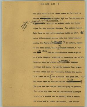 Primary view of object titled '[News Script: Fair Park]'.