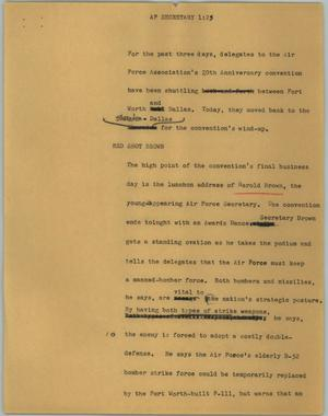 Primary view of object titled '[News Script: AP Secretary]'.