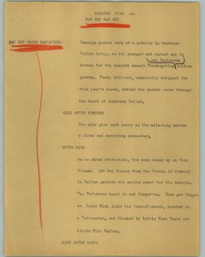 Primary view of object titled '[News Script: Parades]'.