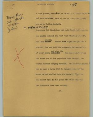 Primary view of object titled '[News Script: Drugstore robbery]'.