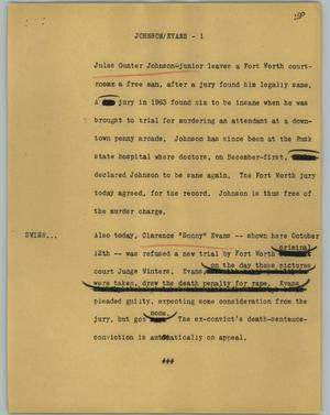 Primary view of object titled '[News Script: Johnson/Evans]'.