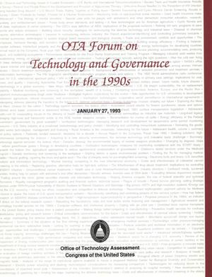 Primary view of object titled 'OTA Forum on Technology and Governance in the 19901, January 27, 1993'.