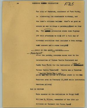 Primary view of object titled '[News Script: Benbrook celebration]'.