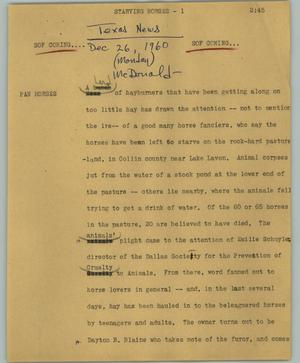 Primary view of object titled '[News Script: Starving horses]'.