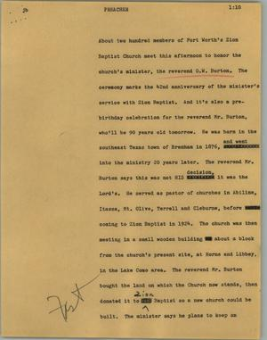 Primary view of object titled '[News Script: Preacher]'.