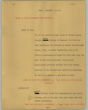 Primary view of object titled '[News Script: Pool - Collins]'.